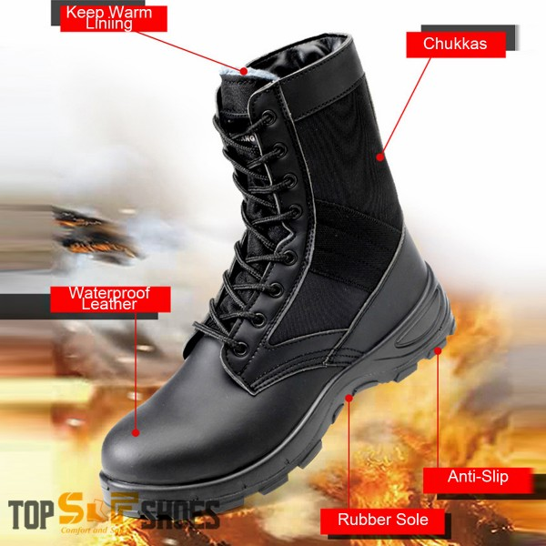 High Work Boots Lace Up Leather Puncture Proof Anti-Smashing Steel Toe Safety Shoes