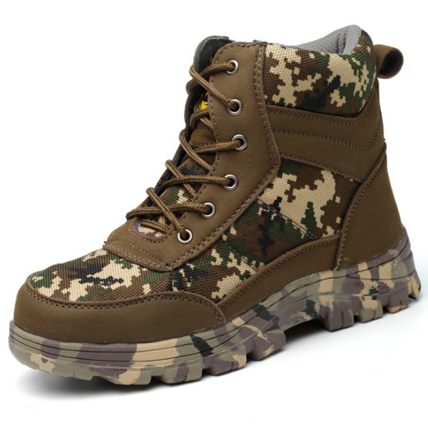 Camouflage Anti-Slip Sole Puncture Proof Anti-Smashing Steel Toe Work Boots Safety Shoes
