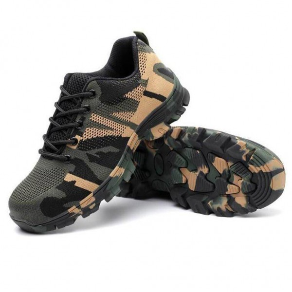Indestructible Military Camouflage Battlefield Shoes Steel Toe Work Safety Shoes - Camouflage Green