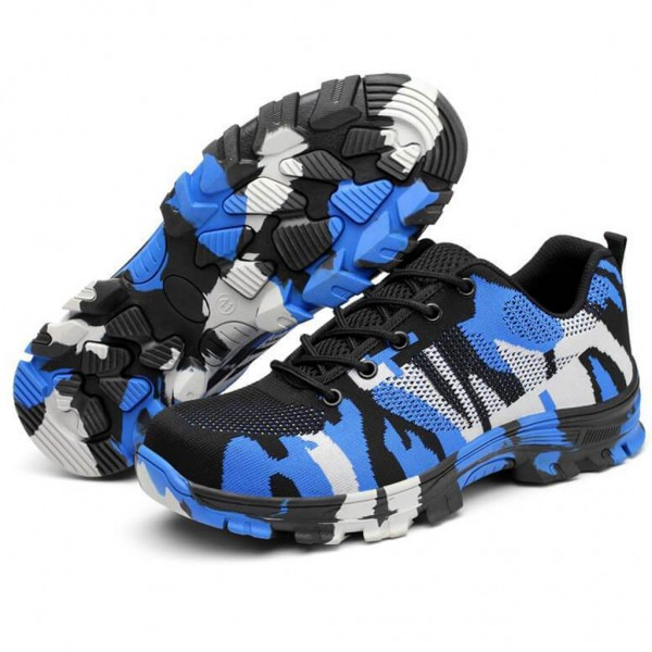 Indestructible Military Camouflage Battlefield Shoes Steel Toe Work Safety Shoes - Camouflage Blue