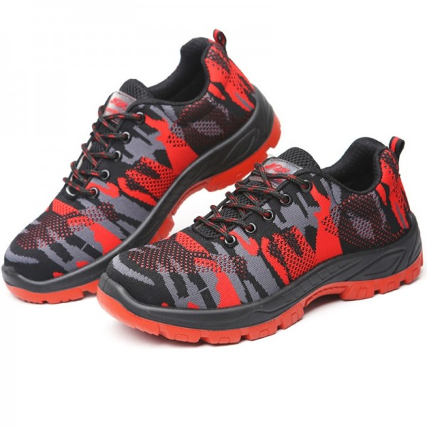 Indestructible Military Camouflage Battlefield Shoes Steel Toe Work Safety Shoes - Camouflage Red
