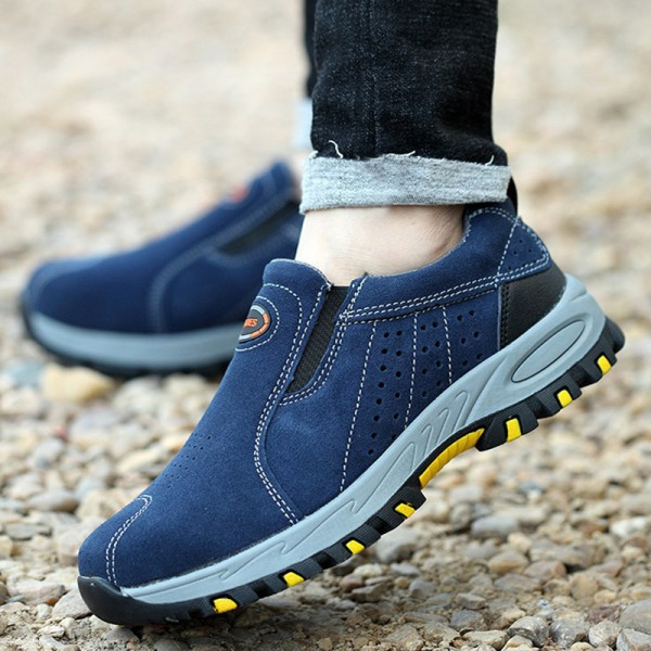 Casual Slip-on Anti-Smashing Steel Toe Work Safety Shoes Blue/Camel