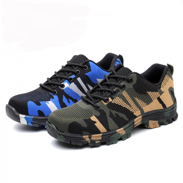 Camouflage Anti-Smashing Anti-Puncture Steel Toe Work Safety Shoes