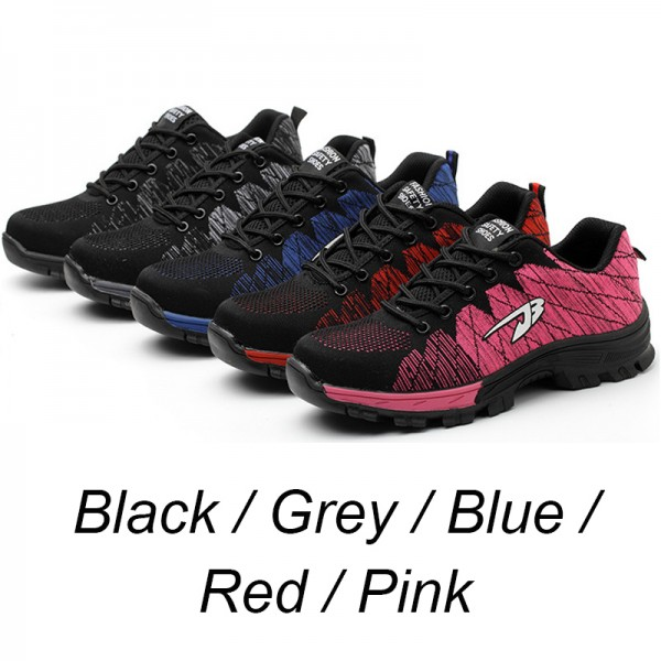 Stripe Flyknit Upper Anti-Smashing Steel Toe Anti-Puncture Work Safety Shoes Pink/Grey/Red/Black/Blue