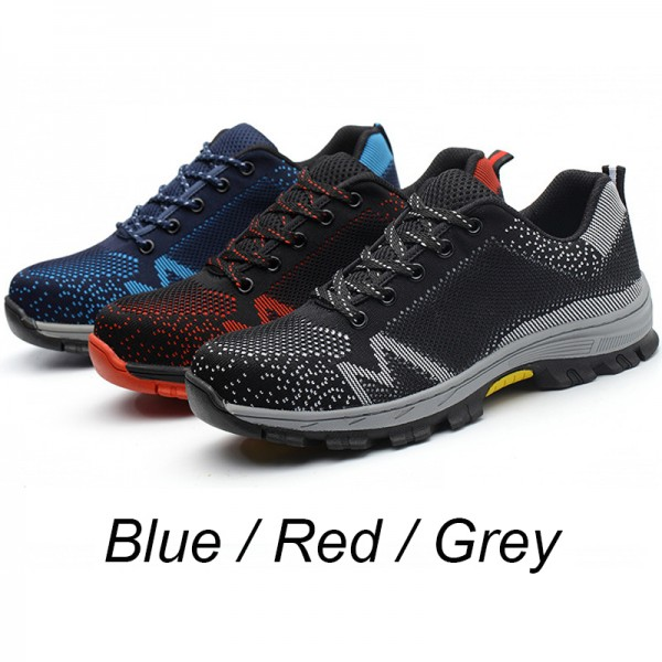 Flyknit Letter Print Upper Deodorant Anti-Smashing Steel Toe Work Safety Shoes Blue/Red/Grey