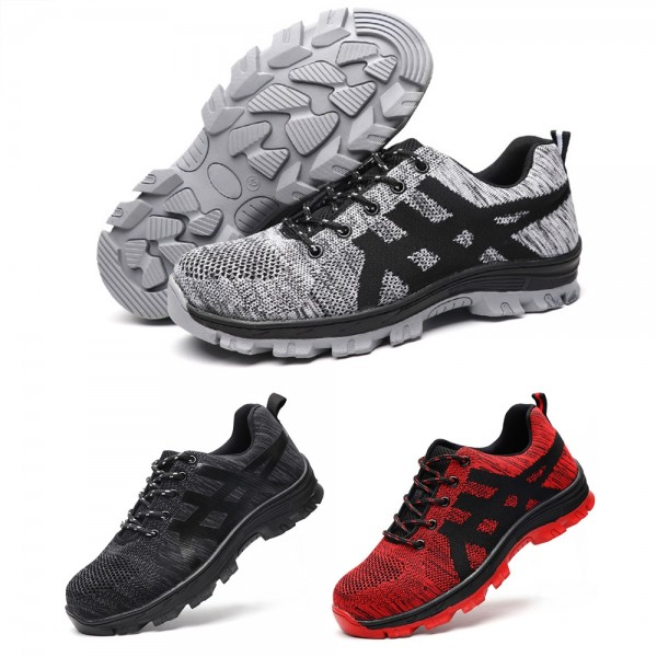 Flyknit Breathable Mesh Light Puncture Proof  Steel Toe Work Safety Shoes