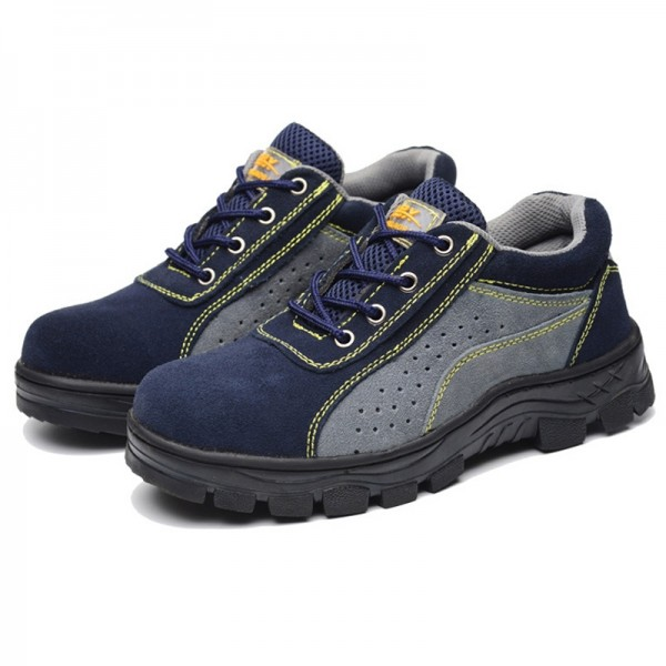 Suede Mesh Puncture Proof  Slip Resistant Steel Toe Work Safety Shoes
