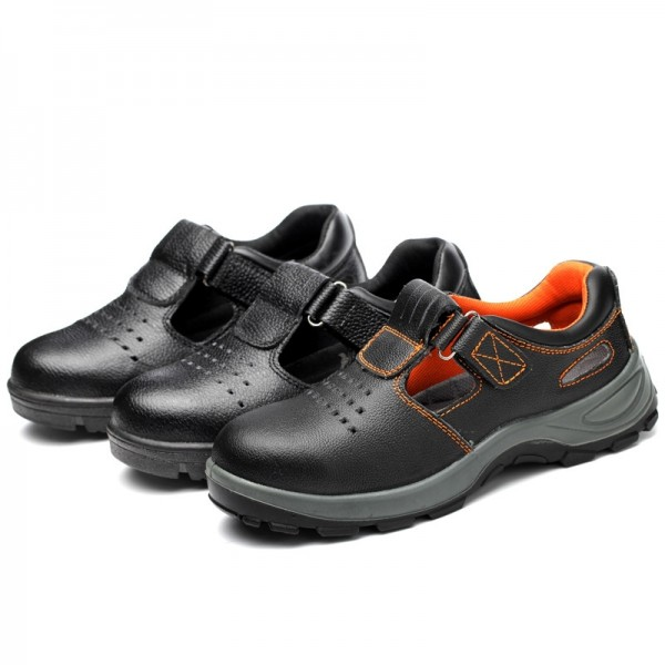 Breathable Light Leather Non Slip Puncture Proof Slip On Steel Toe Work Safety Shoes