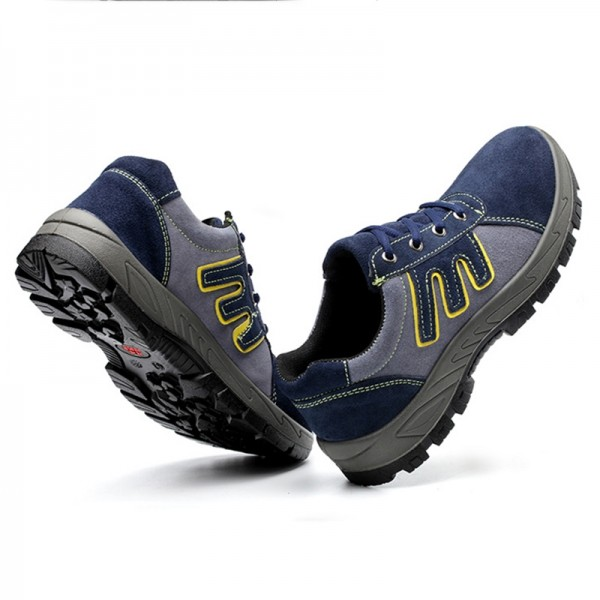 Breathable Light Weight Suede Non Slip Insulated Puncture Proof Steel Toe Work Safety Shoes