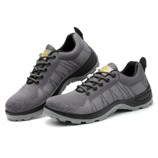 Fashion Flyknit Safety Work Shoes Slip Resistant Steel Toe Shoes Sneaker